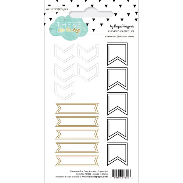 Websters Pages - These Are Days - Shaped Paper Clips Assorted 15/Pkg