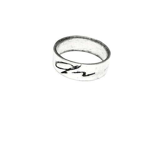 Image Transfer Signature Ring on Silver Metal Clay