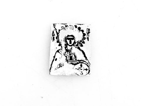Greek Icon Stamped Silver Clay Charm