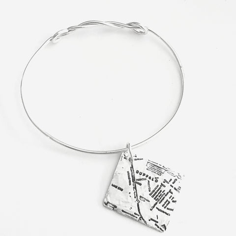 Stamped Charm Pure Silver Metal Clay - City Streets