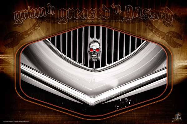 "Kustom ""Skully"" original Street Rod photo garage art banner - Dirty Monkey Kustoms USA"