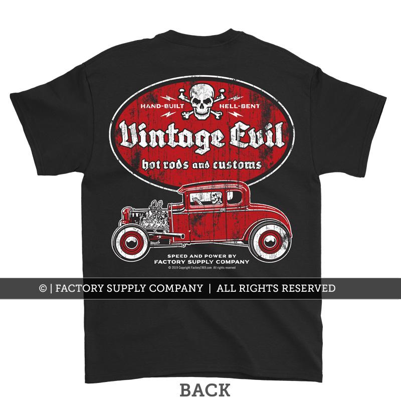 "Vintage Evil "" Ford '32 Deuce"" Retro Hot Rodders T shirt - Dirty Monkey Kustoms USA"