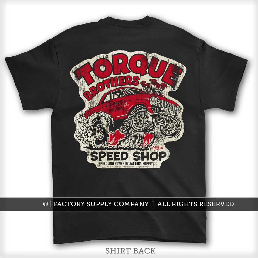 "Torque Brothers ""62 Nova Gasser"" Car Guy T shirt - Dirty Monkey Kustoms USA"