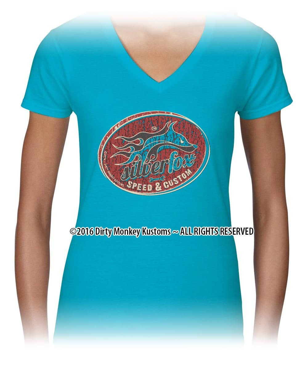 """Silver Fox"" Women's Hot Rodder t shirt - - Dirty Monkey Kustoms USA"