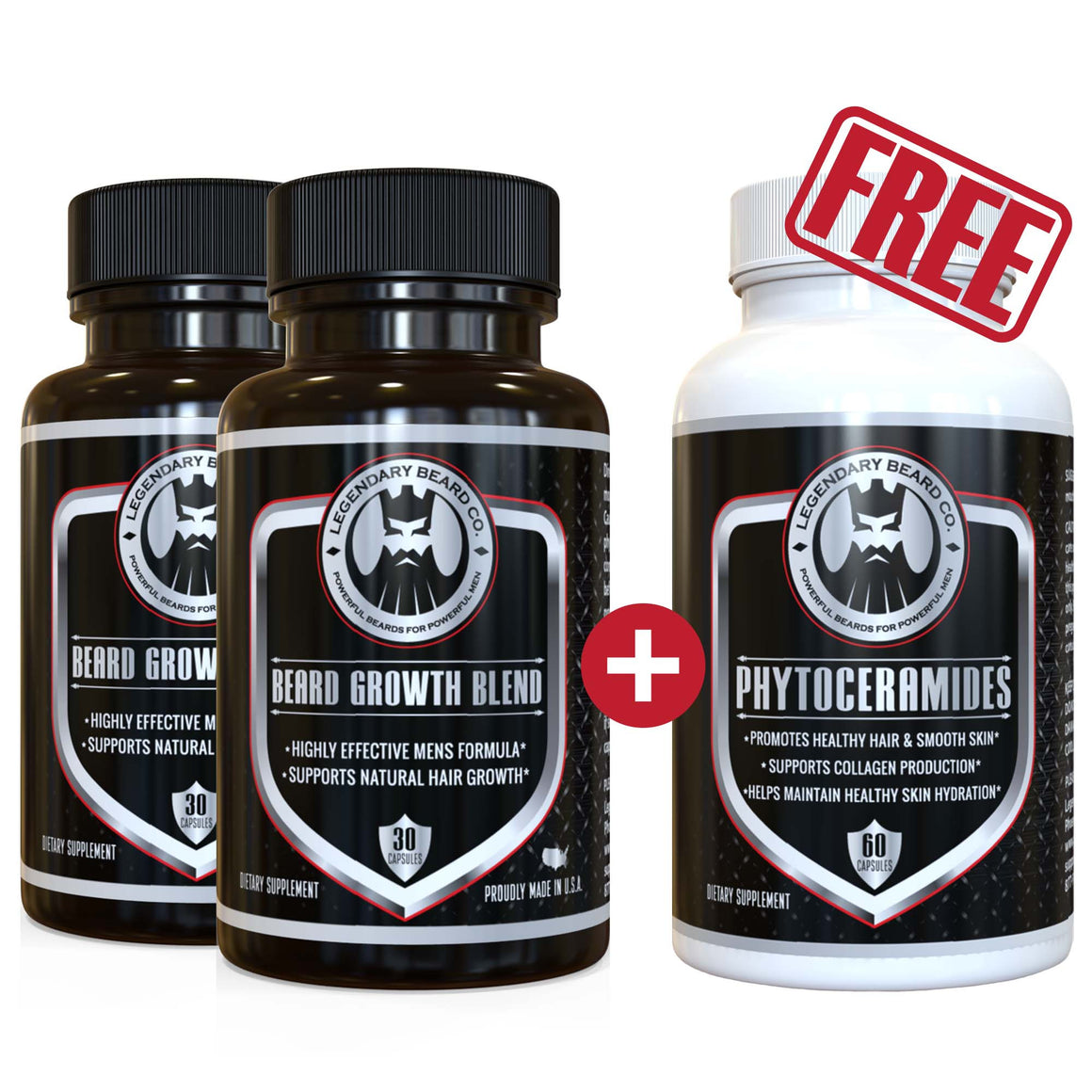 Legendary Beard Growth Blend / Phytocermides Combo Pack Buy 2 + Get 1 Free