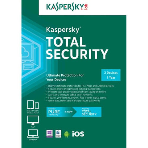 Kaspersky Total Security 2019 - 1-Year / 3-Devices - North America -  ( Email Delivery ) - Blue Jade Services