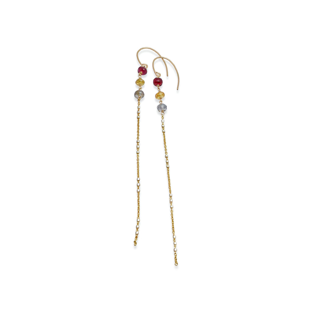MULTI COLORED SAPPHIRE LONG EARRINGS