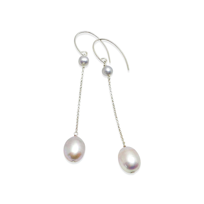PLATINUM GREY PEARL LONG DROP EARRINGS