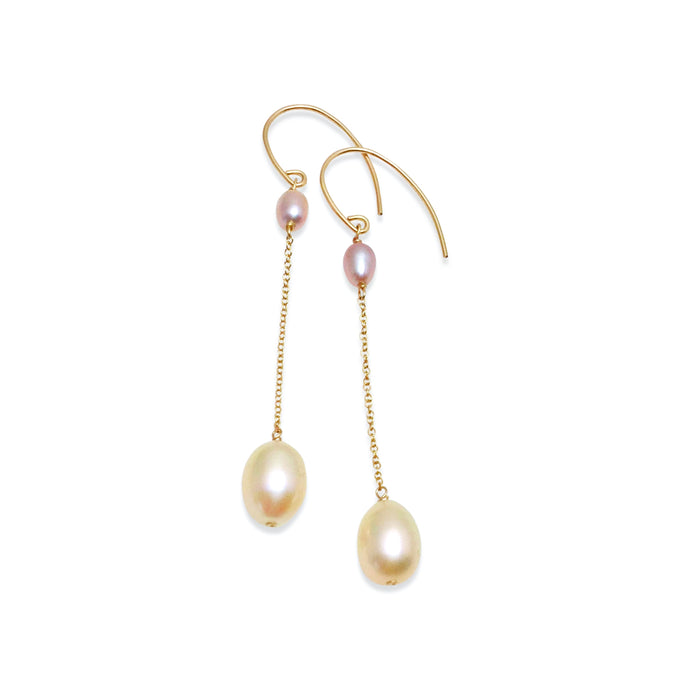 BLUSH PINK PEARL LONG DROP EARRINGS