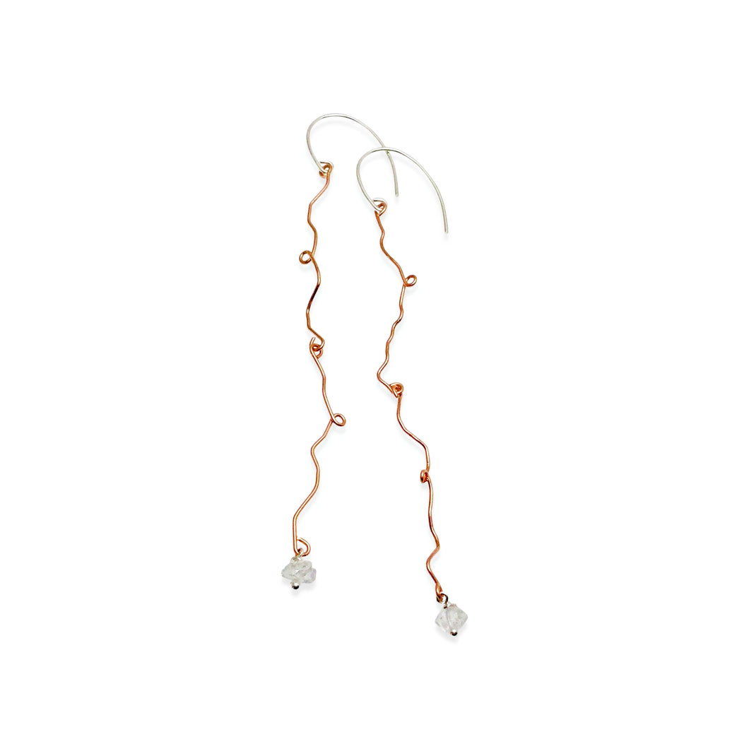 TENDRIL HERKIMER DIAMOND LONG EARRINGS