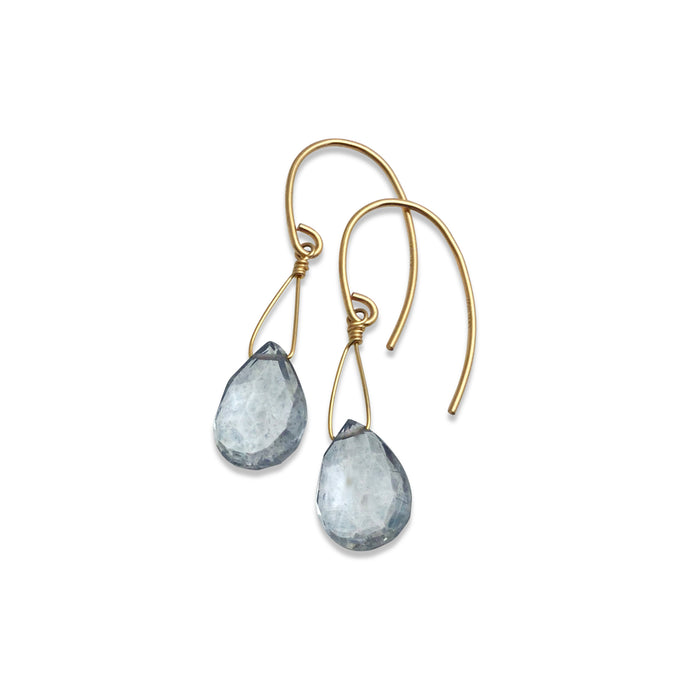 STEEL BLUE QUARTZ TEARDROP EARRINGS