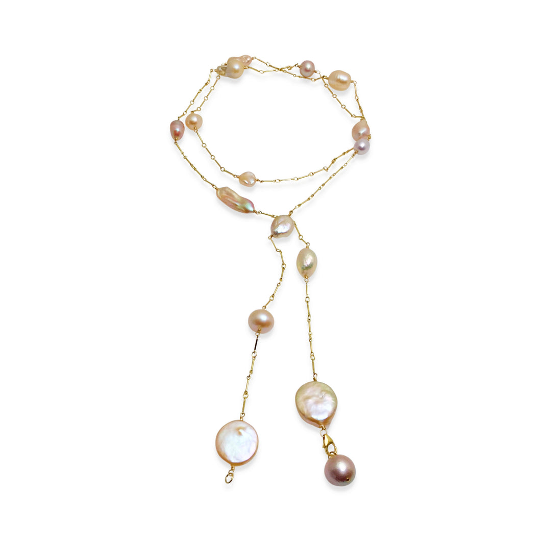 BLUSH PINK PEARL SIMPLE LUX LONG LARIAT NECKLACE