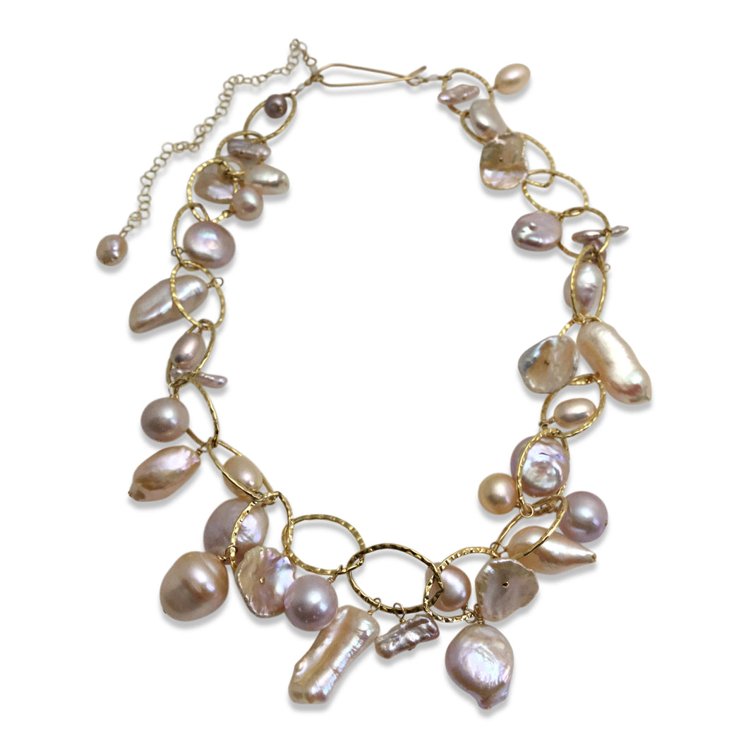 BLUSH PINK PEARL LUX ORGANIC NECKLACE