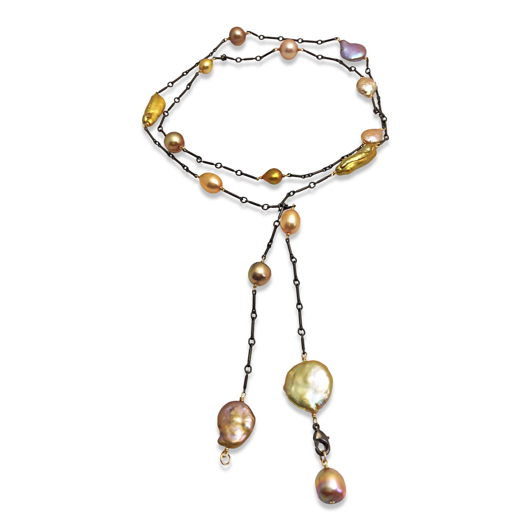 BRONZE PEARL SIMPLE LONG LARIAT NECKLACE