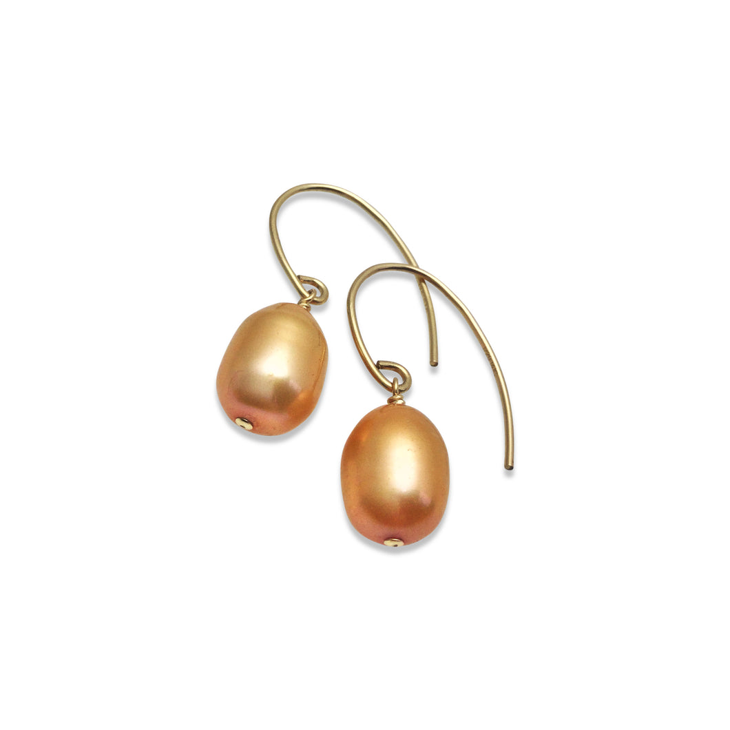 BRONZE PEARL SIMPLE EARRINGS