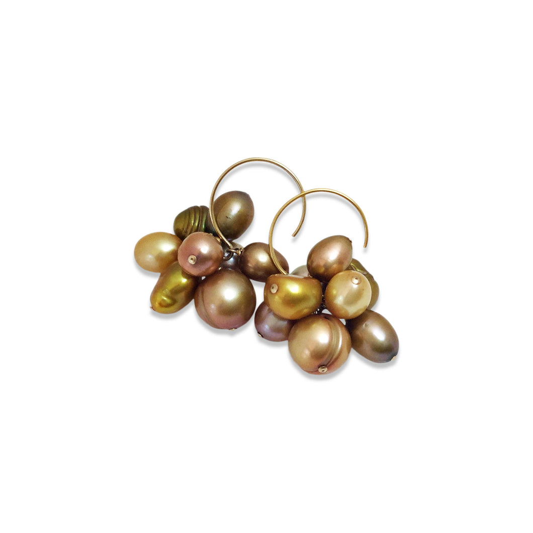 BRONZE PEARL CLUSTER EARRINGS