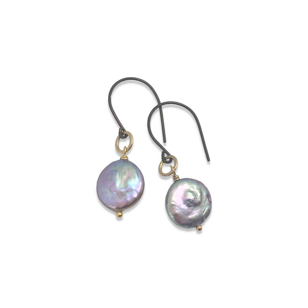 GREY COIN PEARL EARRINGS