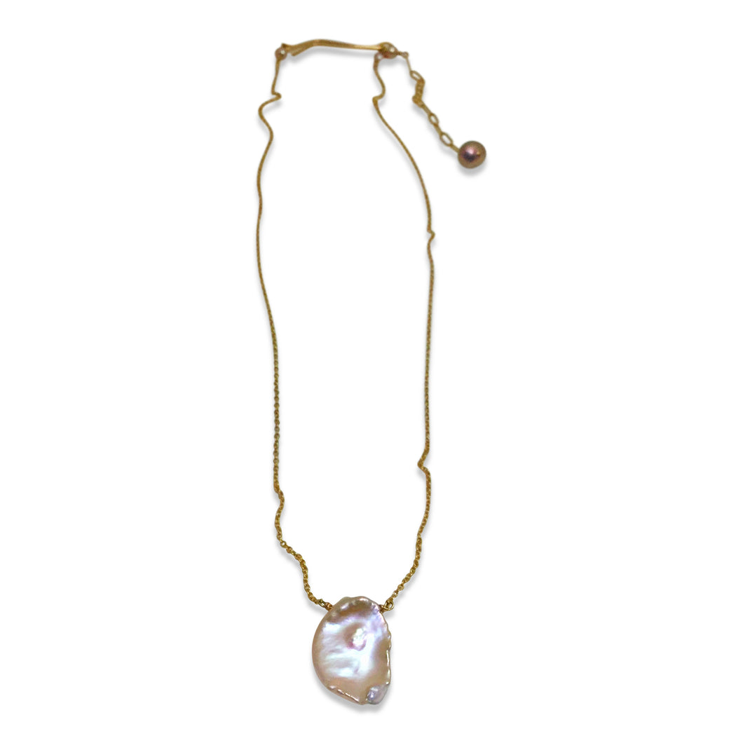 BLUSH PINK KESHI PEARL SIMPLE DROP NECKLACE