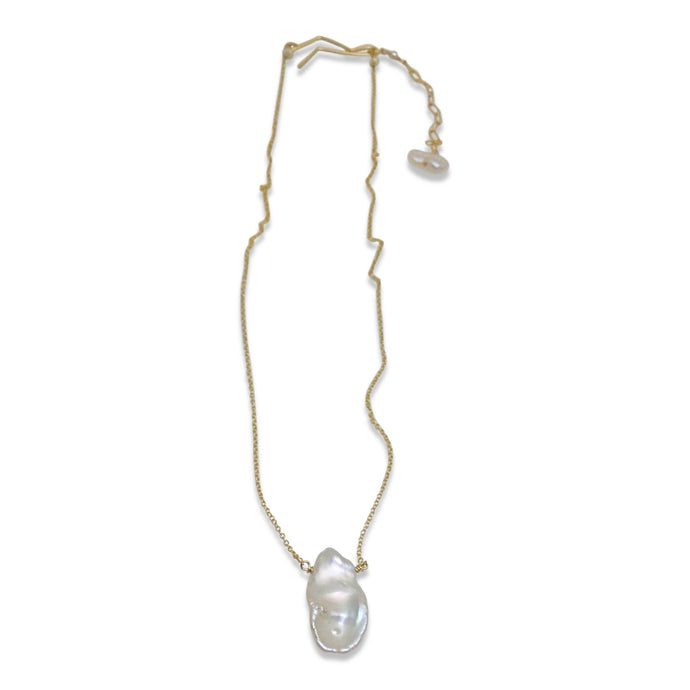 IVORY KESHI PEARL SIMPLE DROP NECKLACE