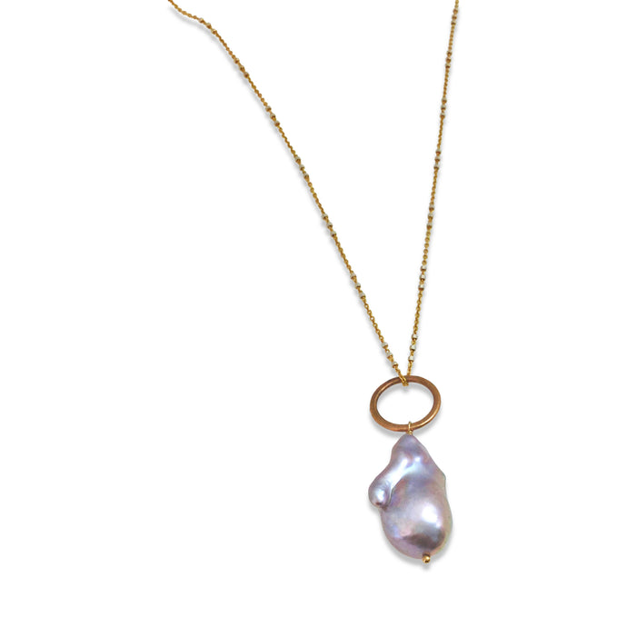 GREY BAROQUE PEARL PENDANT NECKLACE