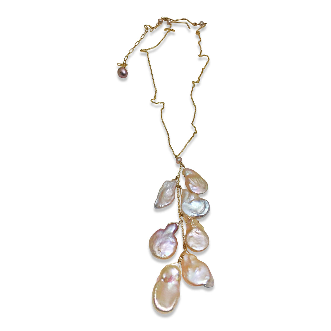 BLUSH PINK CASCADE PEARL NECKLACE