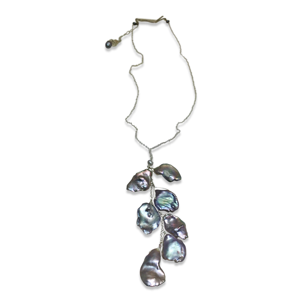 PLATINUM GREY KESHI PEARL CASCADE NECKLACE