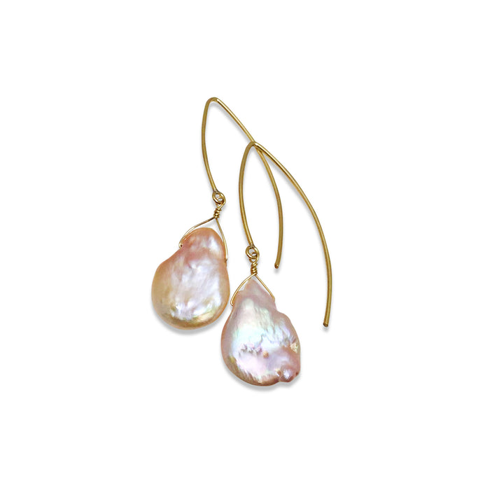 BLUSH PINK KESHI PEARL EARRINGS