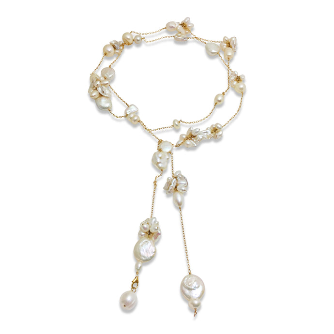 IVORY PEARL TEXTURED LONG LARIAT NECKLACE