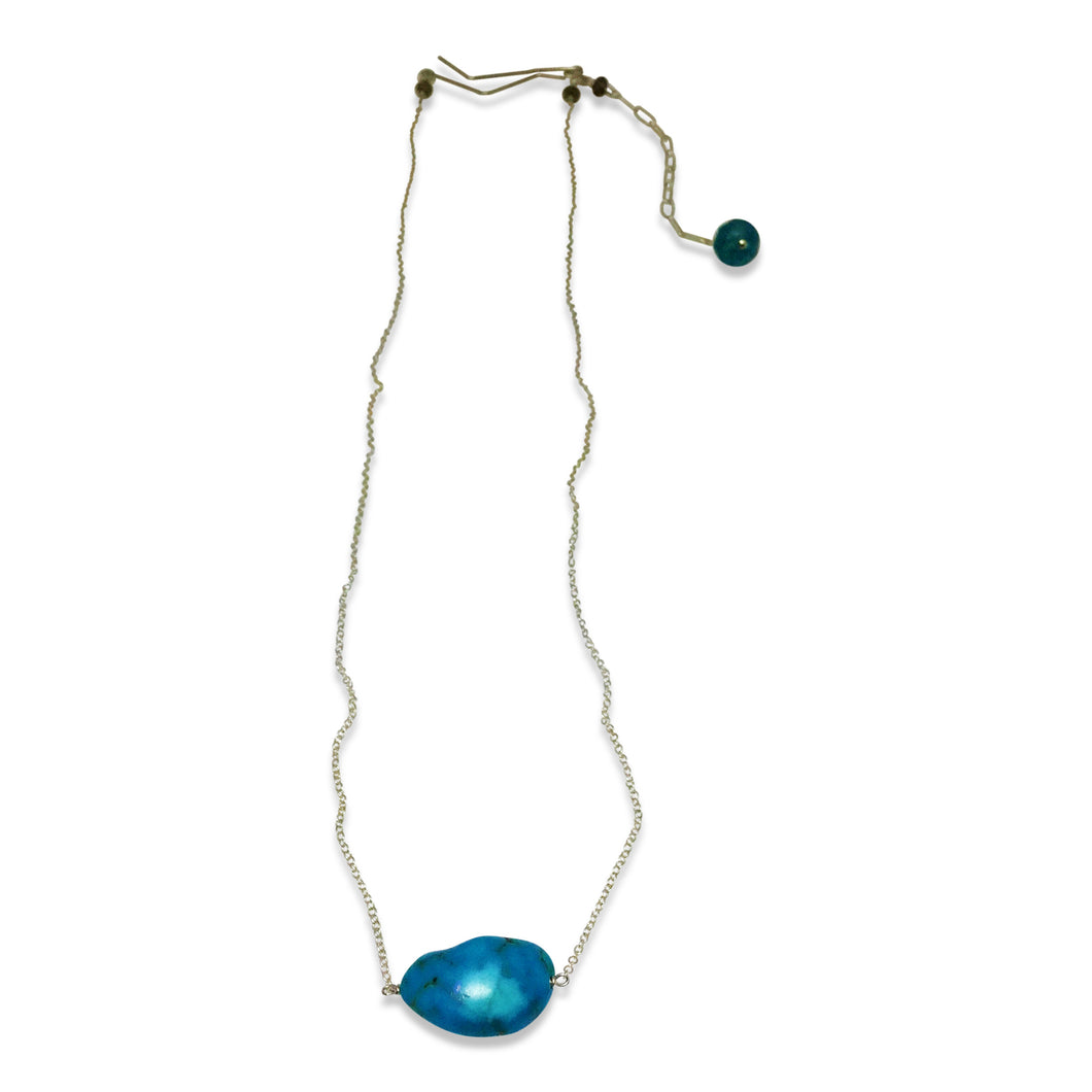 PERFECT AQUA SIMPLE DROP NECKLACE