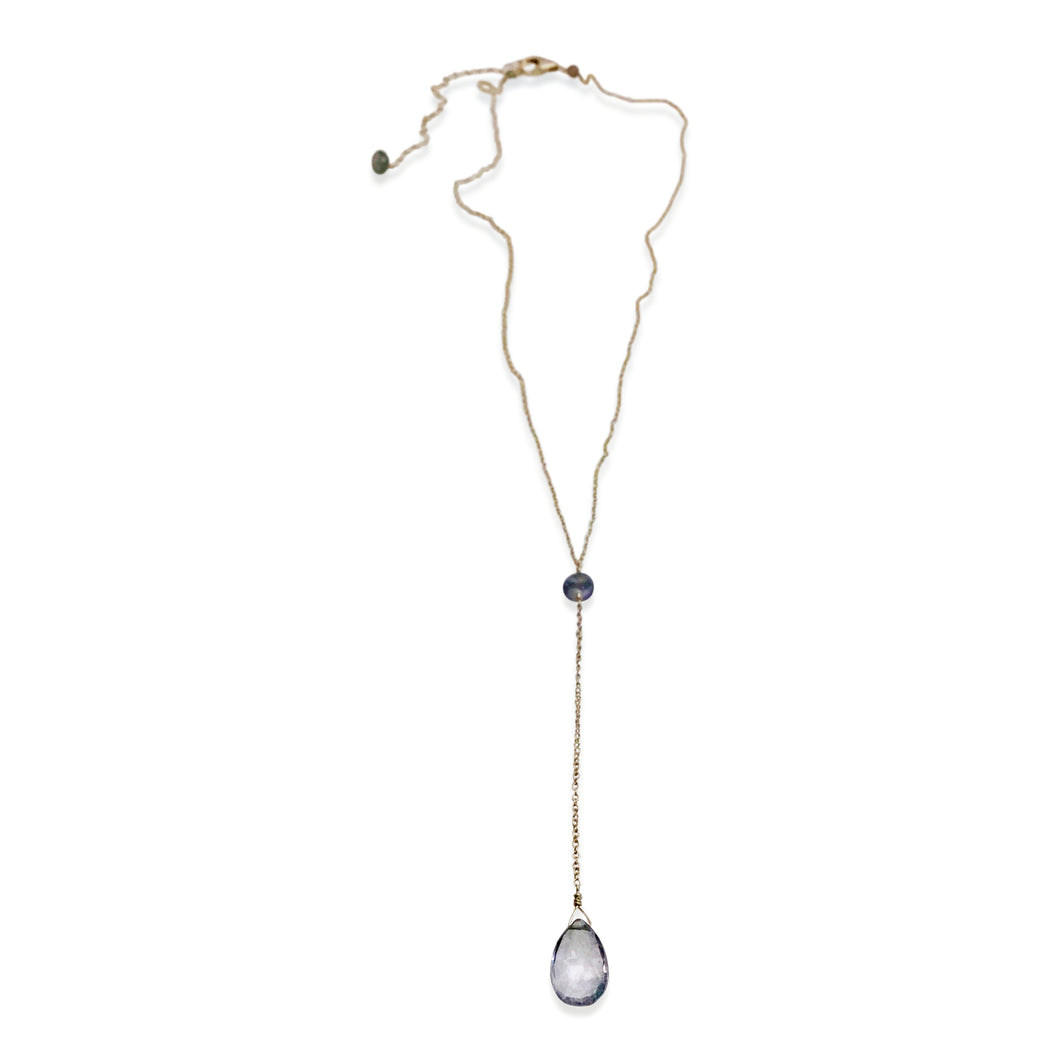 STEEL BLUE QUARTZ AND SAPPHIRE SIMPLE DROP NECKLACE