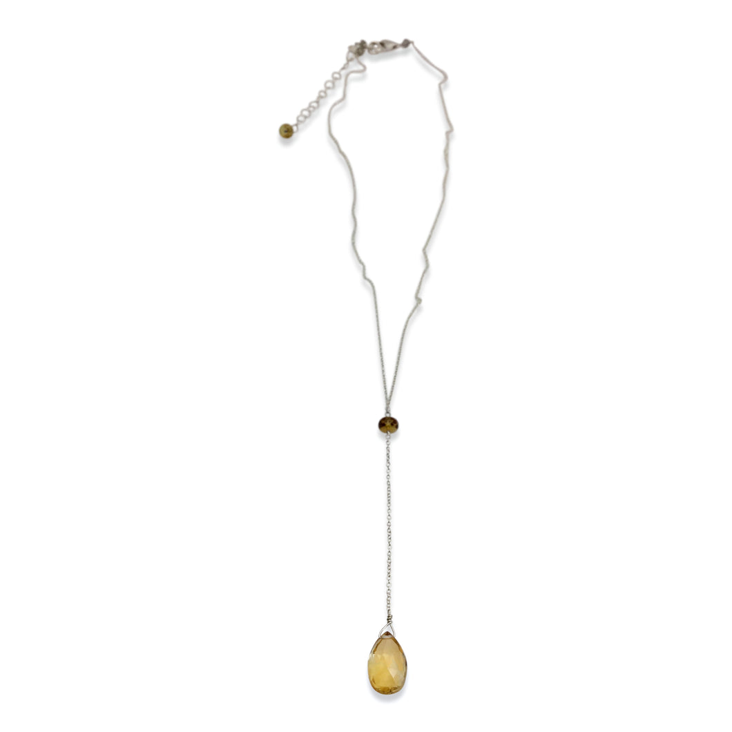 CITRINE AND SAPPHIRE SIMPLE DROP NECKLACE