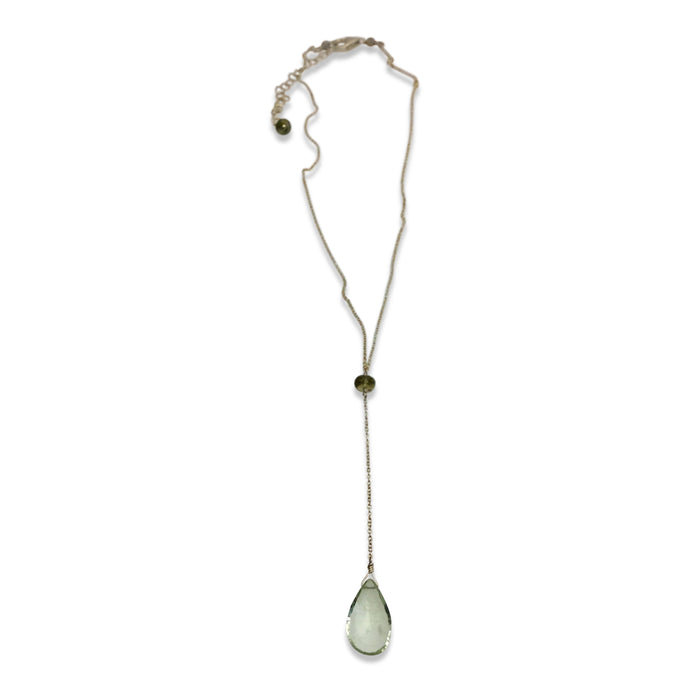 PRASIOLITE AND SAPPHIRE SIMPLE DROP NECKLACE