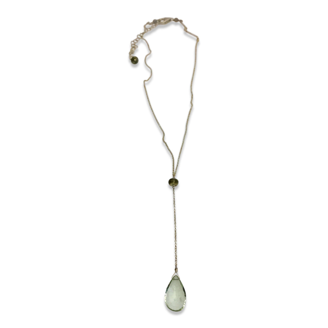 GREEN QUARTZ AND SAPPHIRE SIMPLE DROP NECKLACE