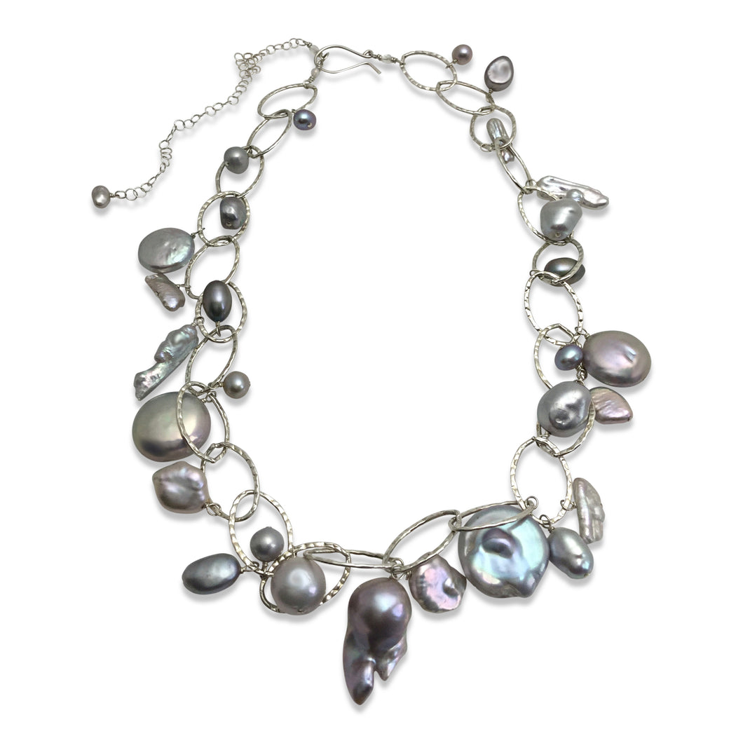 PLATINUM GREY PEARL LUX ORGANIC NECKLACE