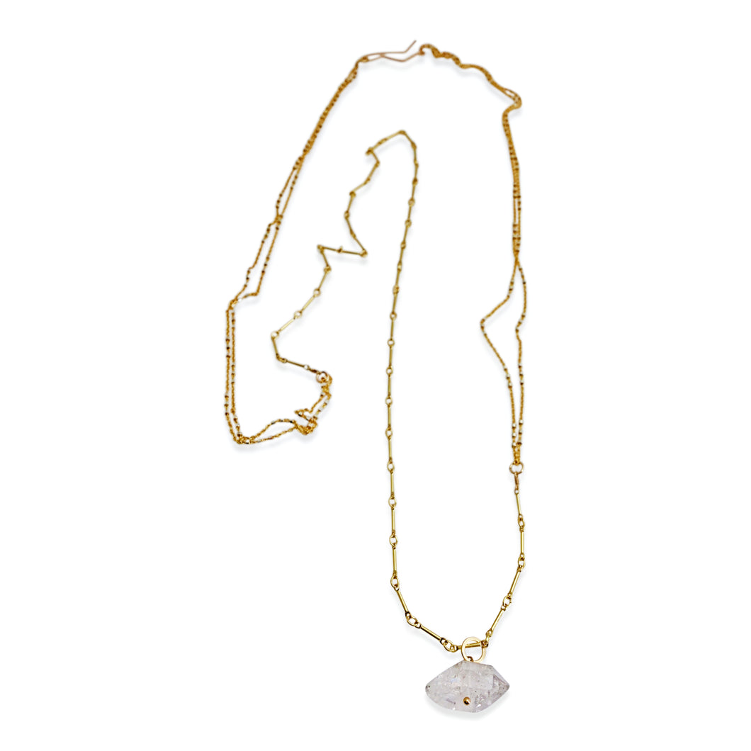 HERKIMER DIAMOND LONG LAYERED NECKLACE