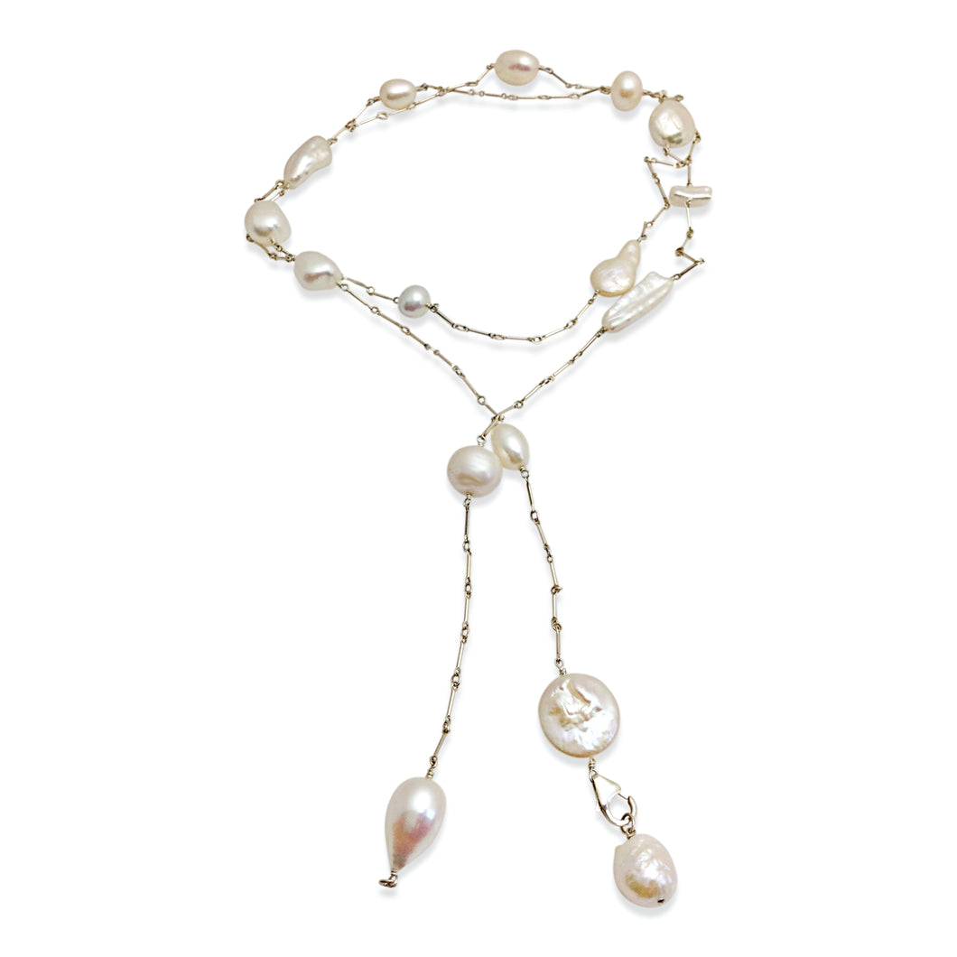 IVORY PEARL SIMPLE LUX LONG LARIAT NECKLACE