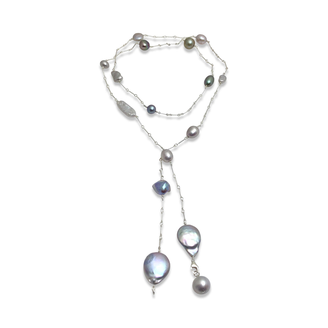 PLATINUM GREY PEARL SIMPLE LUX LONG LARIAT NECKLACE