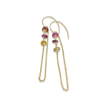 MULTI COLORED SAPPHIRE LAYERED EARRINGS