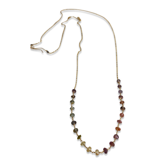 MULTI COLORED SAPPHIRE OMBRE LONG NECKLACE