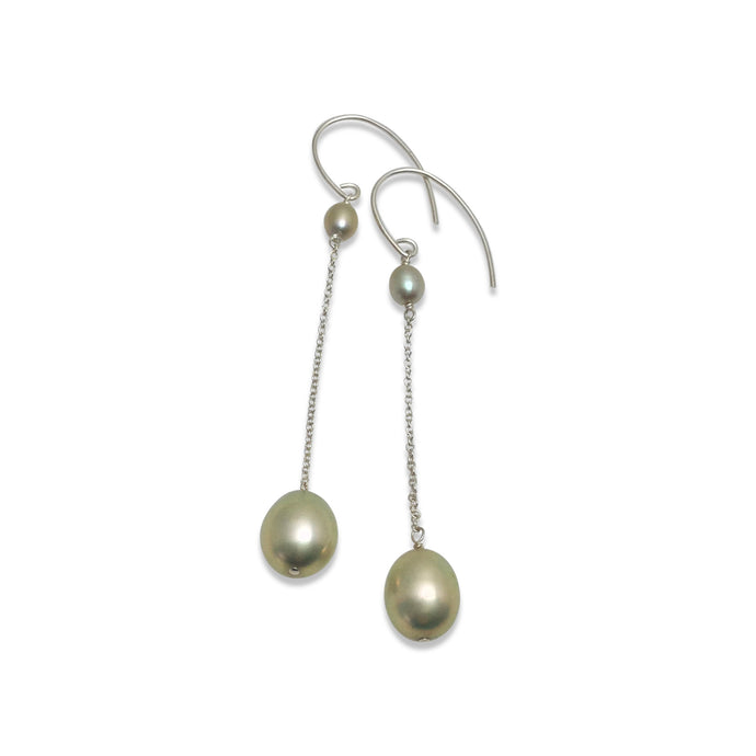 PALE GREEN PEARL LONG DROP EARRINGS