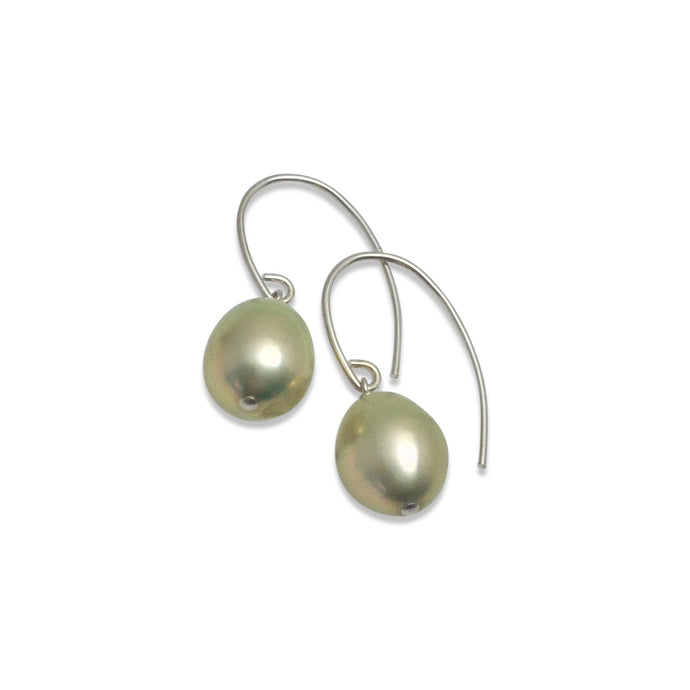 PALE GREEN PEARL SIMPLE EARRINGS