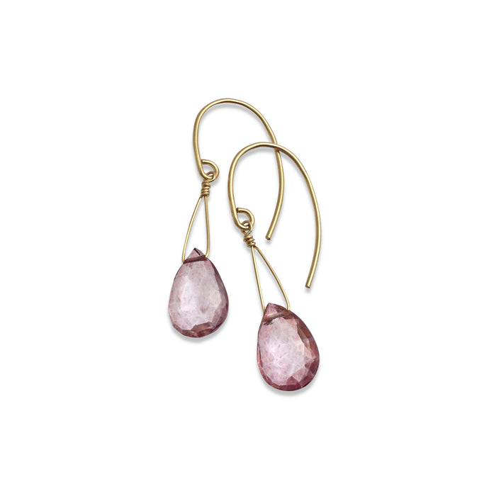 ROSE PINK QUARTZ TEARDROP EARRINGS