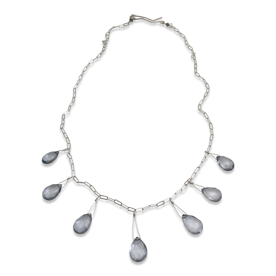 STEEL BLUE QUARTZ SEVEN NECKLACE