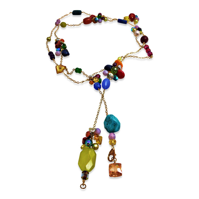 TUTTI FRUTTI TEXTURED LONG LARIAT NECKLACE