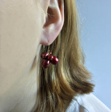 BERRY RED PEARL CLUSTER EARRINGS