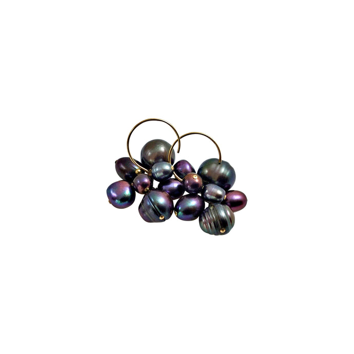 PEACOCK PEARL CLUSTER EARRINGS