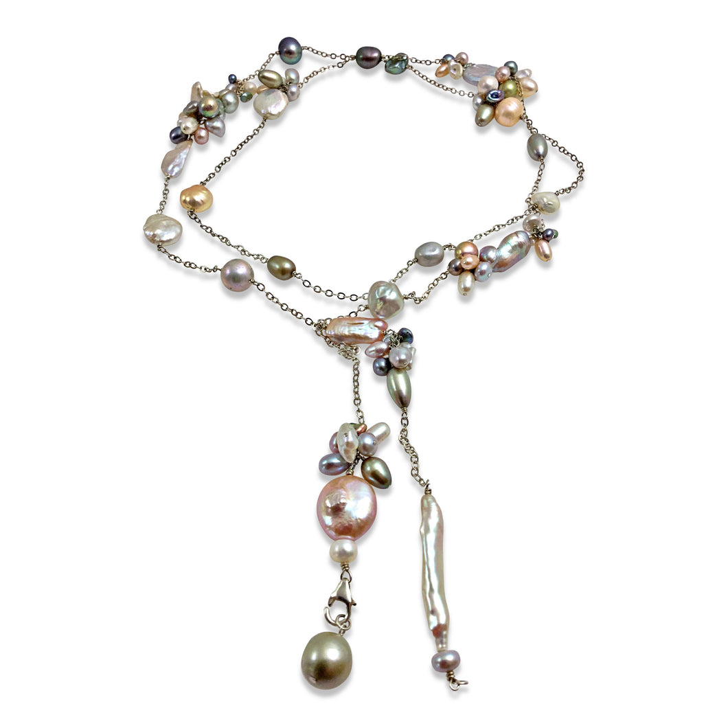 PASTEL PEARL TEXTURED LONG LARIAT NECKLACE