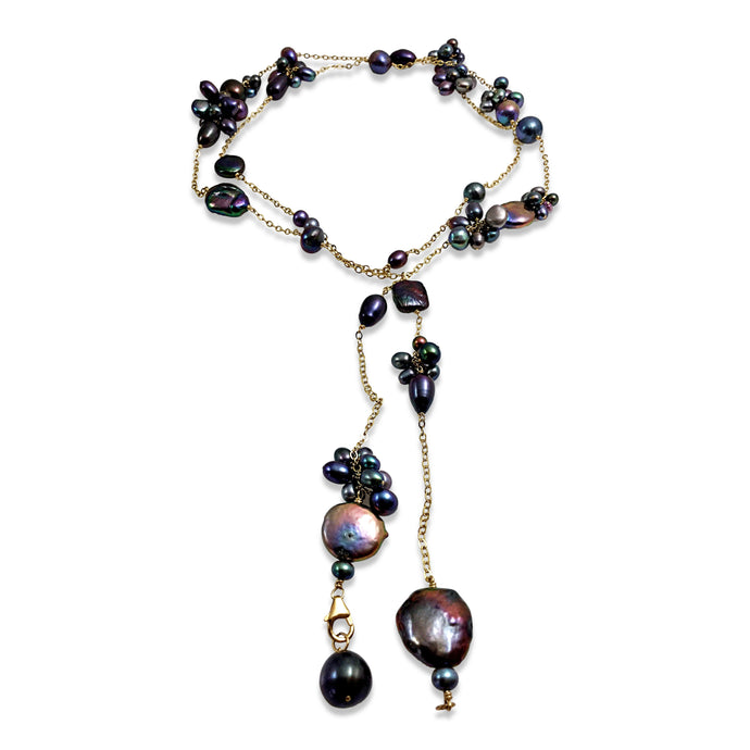 PEACOCK PEARL TEXTURED LONG LARIAT NECKLACE