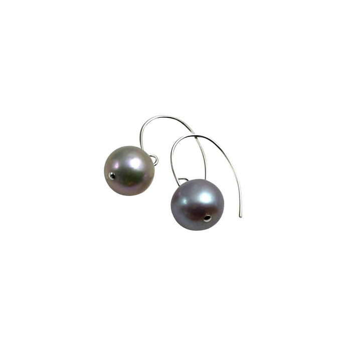 PLATINUM GREY PEARL SIMPLE EARRINGS