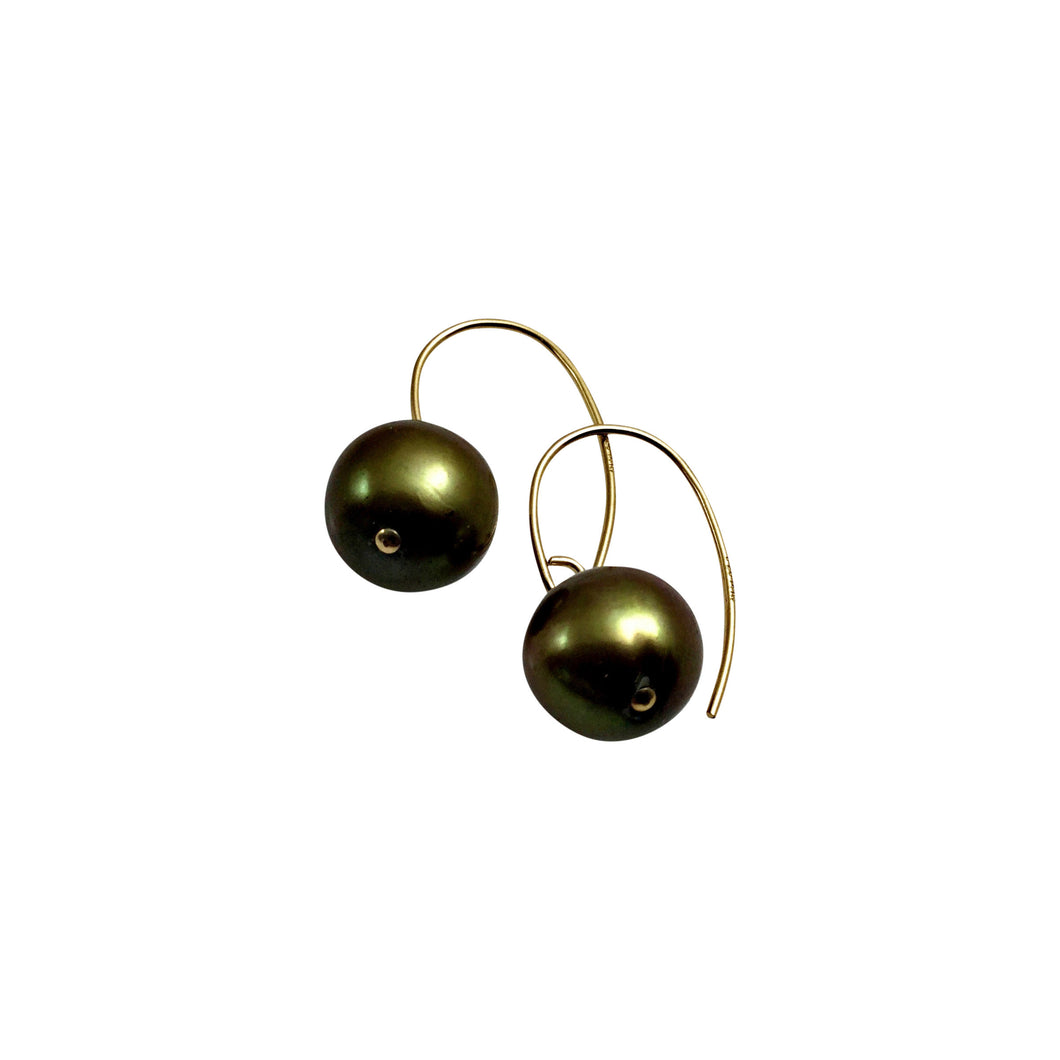 GREEN PEARL SIMPLE EARRINGS